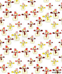 Vector Seamless Background Of Colorful Snowmen Buy This