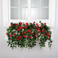 Artificial Window Artificial Morning Glory Flowers For Window Boxes Hooks Lattice