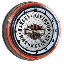 harley davidson bar shield diamond plate neon clock