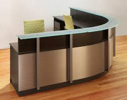 Wrap around Reception Desks and modern Reception furniture with curved  Stainless Steel and Glass counters.