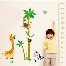 Cartoon Animals Height Measure Wall Stickers For Kids