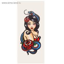 татуировка на тело девушка в стиле олд скул 56х12 см 2968444