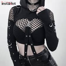InstaHot <b>Black</b> Cold Shoulder Hooded Hoodies Women <b>Gothic</b> Sexy ...