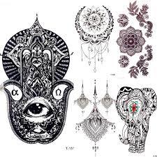 5pieceslot Black Henna Hamsa Hand Water Transfer Tattoo Mandala Flower Women Temporary Tattoo Sticker Girl Body Arm Art Tattoo Pendant Neck