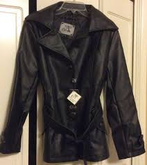 a collezioni womens size small soft black leather jacket with belt new with tag