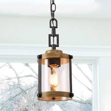 Rustic Wood Light Fixtures Log Barn Farmhouse Rustic Pendant Light 1 Light Hanging Foyer Lighting Fixture In Distressed Black Metal Faux Wood Finish With Clear Bubbled Glass