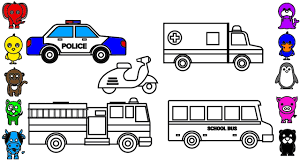 Small Picture Learn Colors for Kids with Police Car Coloring Pages Fire Truck