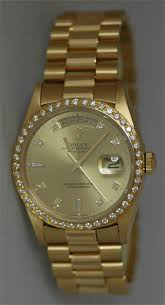 used rolex pre owned rolex used rolex watches rolex watch certified pre owned rolex men s president original champagne diamond dial and a custom 1 3ct diamond bezel circa mid 90 s in pristine condition