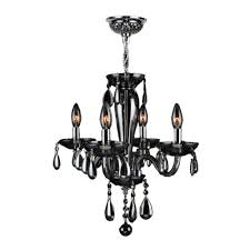 worldwide lighting gatsby 4 light hand blown glass polished chrome with smoke crystal chandelier