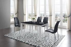 overnice rectangular black gl top leather table and four chairs