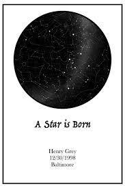 Date Of Birth Star Chart Amazon Com A Star Is Born Custom Star Map Print