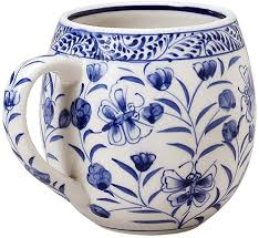 Download this premium photo about white coffee mug on blue paper background, and discover more than 7 million professional stock photos on freepik. Amazon Com Hand Painted Ceramic Coffee Cup Blue Floral Design Toasty Morning Mug Kitchen Dining
