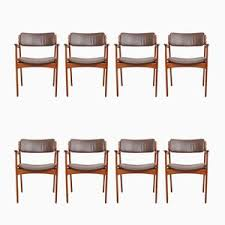 teak leather dining chairs by erik buch for o d møbler 1960s set of