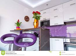 Purple Kitchen Modern White And Purple Kitchen Royalty Free Stock Image Image