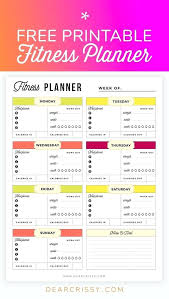 Daily Exercise Log Meal Journal Template Free Printable Fitness Planner Health And