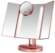 rose gold makeup vanity mirror with 21 led lights 3x 2x magnification led makeup mirror with touch screen dual power supply 180 degrees adjule rotation