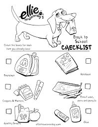 ellie the wienerdog back to checklist coloring page