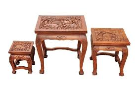 tall carved thai opium table set