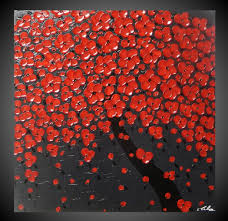 zoom on 3d wall art painting designs with tree painting red flower painting abstract painting acrylic