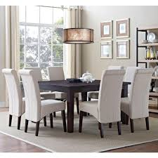 rectangular dining table bab avalon solid wood and linen look polyester  piece dining set in