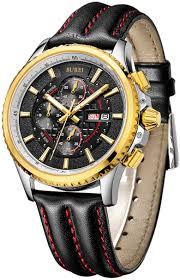 amazon com burei® men s luminous chronograph day and date watch amazon com burei® men s luminous chronograph day and date watch black calfskin