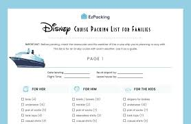 7 Day Cruise Packing List Disney Cruise Packing List For Families Ezpacking Inc