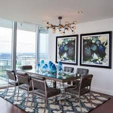 G Blue Contemporary Dining Room With Rug
