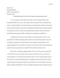 rhetorical analysis essay example of a speech how to write an  rhetorical analysis of steve jobs stanford commencement speech