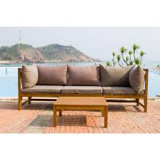 outdoor sectional home depot. Safavieh Lynwood Modular Teak Brown Outdoor Patio Sectional Set With Taupe Cushions Home Depot U