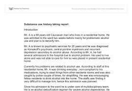 substance use history taking report university subjects allied  document image preview