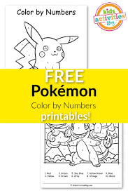 Give your kids something fun and free to do when they're bored when you use these pokemon color by number printable worksheets. Free Pokemon Color By Numbers Printables