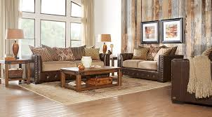 White furniture ideas Walls Eric Church Living Room Set Brown Leather Sofa With Beige Cushions Rustic Wood Coffee Table Set Furniturecom Beige Brown White Living Room Furniture Decorating Ideas