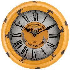 antique yellow metal wall clock hobby