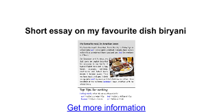 short essay on my favourite dish biryani google docs