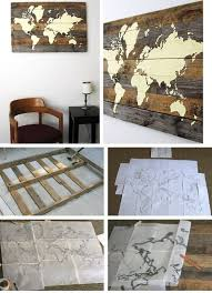 pallet board world map pic for 36 diy wall art ideas for living room