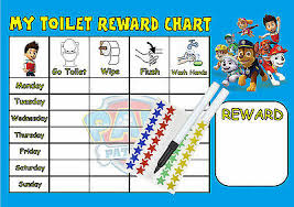 Boys Personalised Paw Patrol Toilet Reward Chart Toilet