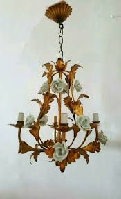 italian vintage antique chandelier gold guilded metal with ceramic intended for popular house italian ceramic chandelier decor