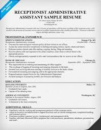 Resume Sample Administrative Assistant Receptionist Administrative