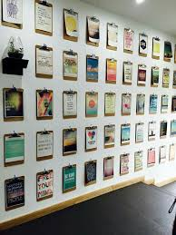 wall pictures for office. interchangeable art wall using clip boards pictures for office