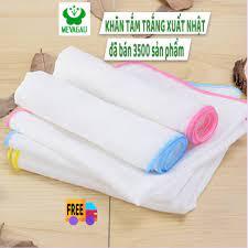 Khăn Tắm Cho Bé, Danh Sách Đồ Sơ Sinh, Khăn Tắm Xuất Nhật Trắng 100% Cotton  (4 và 6 Lớp)