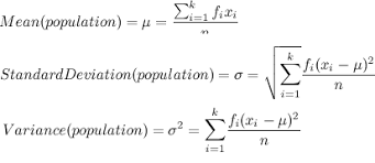 formula for potion data standard deviation