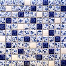 blue and white tile glossy porcelain mosaic bathroom 3d flower patterns kitchen backsplash wbpt33