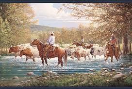 cowboy cattle drive wallpaper border