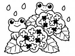 モノクロの紫陽花とカエル 無料イラスト素材素材ラボ