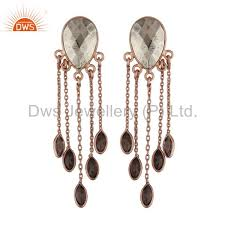 18k rose gold plated sterling silver pyrite and smoky quartz chandelier earrings