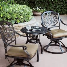 Aluminum patio furniture Lightweight Darlee Elisabeth Piece Cast Aluminum Patio Bistro Set With Swivel Rocker Chairs End Table With Ice Bucket Insert Bbq Guys Bbq Guys Darlee Elisabeth Piece Cast Aluminum Patio Bistro Set With Swivel