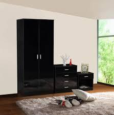 High Gloss Black Bedroom Furniture Gladini Black High Gloss 3 Piece Bedroom Furniture Set Wardrobe