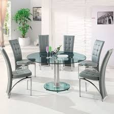 maxi round dining set in clear glass and 6 ravenna grey chairs 1