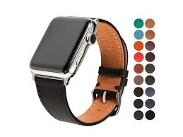 sonamu new york compatible with apple watch band 42mm premium french barenia leather strap with stainless steel buckle black