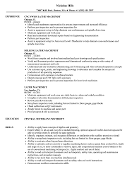 Machinist Resume Samples Manual Cnc Machine Operator Free | Intexmar